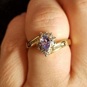 🌸REAL diamond and tanzanite ring